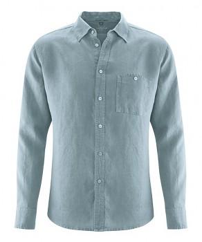 MITCH pánská košile ze 100% konopí - šedá aloe