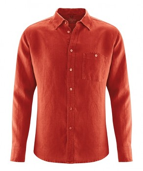 MITCH pánská košile ze 100% konopí - červená rosehip