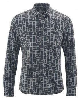 PRINT pánská košile z konopí a biobavlny - šedá rock