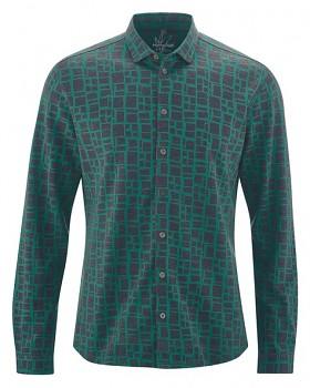 PRINT pánská košile z konopí a biobavlny - zelená spruce