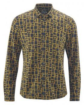 PRINT pánská košile z konopí a biobavlny - žlutá peanut
