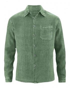 BILLY pánská košile ze 100% konopí - zelená herb