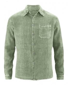 BILLY pánská košile ze 100% konopí - zelená cactus