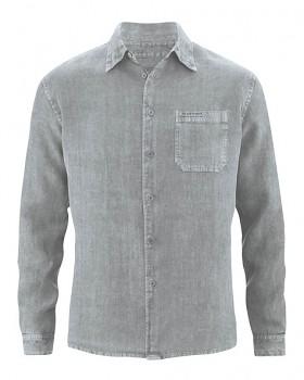 BILLY pánská košile ze 100% konopí - šedá rock