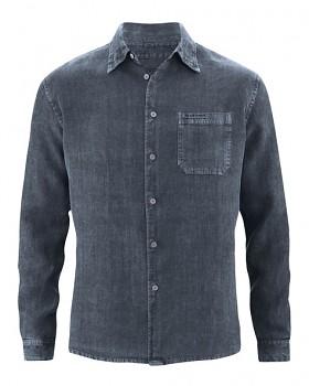 BILLY pánská košile ze 100% konopí - tmavě šedá dark