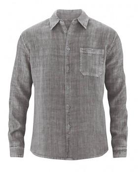 BILLY pánská košile ze 100% konopí - šedohnědá taupe