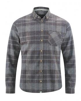 MAXTON károvaná pánská košile z konopí a biobavlny - hnědá gravel
