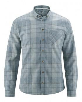 MAXTON károvaná pánská košile z konopí a biobavlny - modrošedá aloe