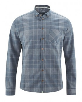 MAXTON károvaná pánská košile z konopí a biobavlny - modrá blueberry