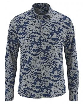 JAY pánská košile z konopí a biobavlny - šedá rock/ modrá navy
