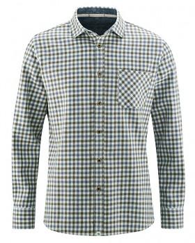 LUMBERJACK pánská károvaná košile z konopí a biobavlny - modrá blueberry