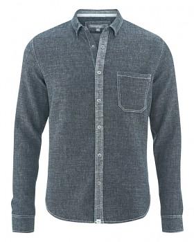 DEAN pánská košile z konopí a biobavlny - modrošedá indigo