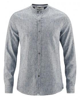 LUCA pánská košile z konopí a biobavlny - modrošedá indigo