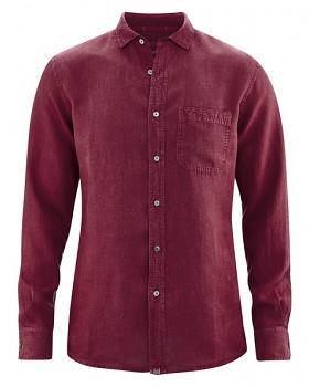 EMPEROR pánská košile ze 100% konopí - fialová rioja