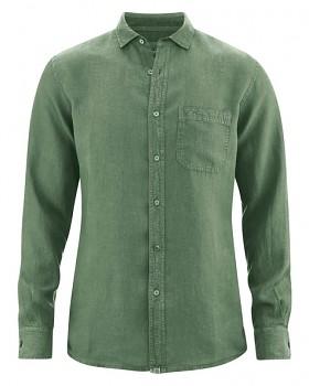 EMPEROR pánská košile ze 100% konopí - zelená herb