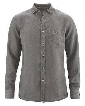 EMPEROR pánská košile ze 100% konopí - šedá taupe