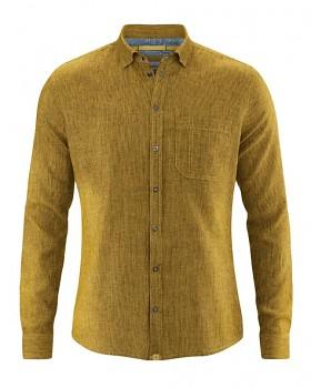 PATACHON pánská košile z konopí a biobavlny - žlutá peanut