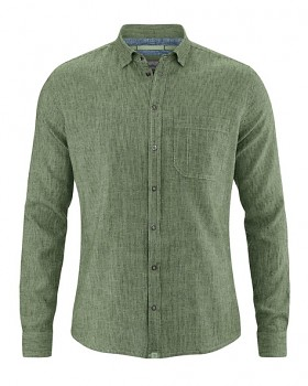 PATACHON pánská košile z konopí a biobavlny - zelená cactus