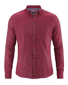 PATACHON pánská košile z konopí a biobavlny - červená sangria