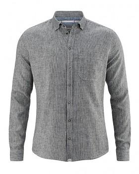 PATACHON pánská košile z konopí a biobavlny - černobílá