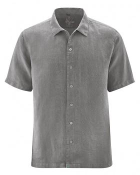 PATRICK pánská košile s 1/2 rukávy ze 100% konopí - šedohnědá taupe