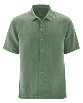 PATRICK pánská košile s 1/2 rukávy ze 100% konopí - zelená herb