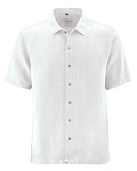 PATRICK pánská košile s 1/2 rukávy ze 100% konopí - bílá