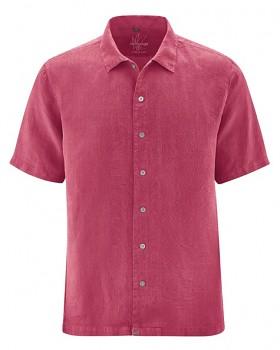PATRICK pánská košile s 1/2 rukávy ze 100% konopí - červená sangria