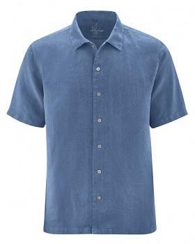 PATRICK pánská košile s 1/2 rukávy ze 100% konopí - modrá blueberry