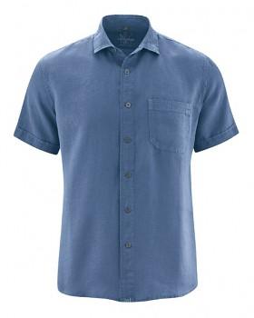 SIMON pánská košile s krátkými rukávy ze 100% konopí - modrá blueberry
