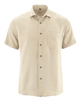 SIMON pánská košile s krátkými rukávy ze 100% konopí - béžová gobi