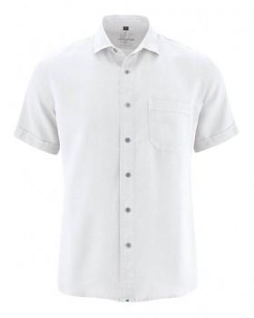 SIMON pánská košile s krátkými rukávy ze 100% konopí - bílá