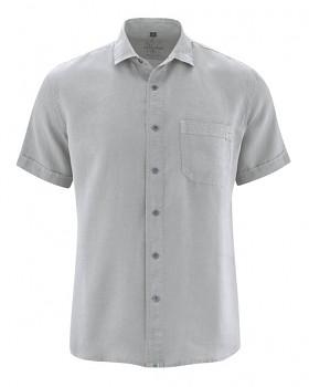 SIMON pánská košile s krátkými rukávy ze 100% konopí - šedá quartz
