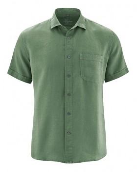 SIMON pánská košile s krátkými rukávy ze 100% konopí - zelená herb