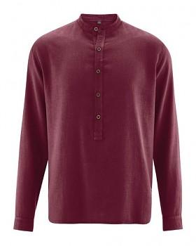 LUFT pánská košile z konopí a biobavlny - fialová rioja