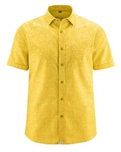 BRUST pánská košile s krátkým rukávem z biobavlny a konopí - žlutá curry