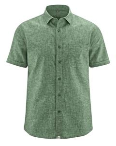 BRUST pánská košile s krátkým rukávem z biobavlny a konopí - zelená herb