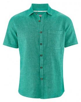 HEATH pánská košile s krátkým rukávem z biobavlny a konopí -  zelená emerald