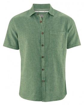 HEATH pánská košile s krátkým rukávem z biobavlny a konopí -  zelená cactus