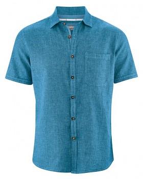 HEATH pánská košile s krátkým rukávem z biobavlny a konopí - modrá atlantic