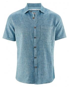 HEATH pánská košile s krátkým rukávem z biobavlny a konopí - modrá indigo melange