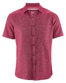 HEATH pánská košile s krátkým rukávem z biobavlny a konopí - červená sangria