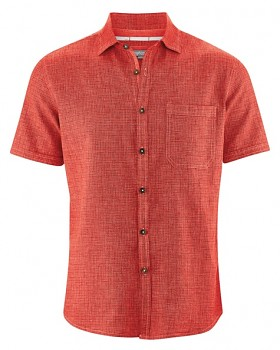 HEATH pánská košile s krátkým rukávem z biobavlny a konopí - červená crab