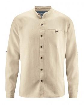 NOAH pánská košile ze 100% konopí - béžová gobi