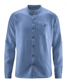 NOAH pánská košile ze 100% konopí - modrá blueberry