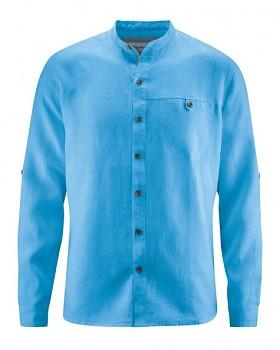 NOAH pánská košile ze 100% konopí - modrá topaz
