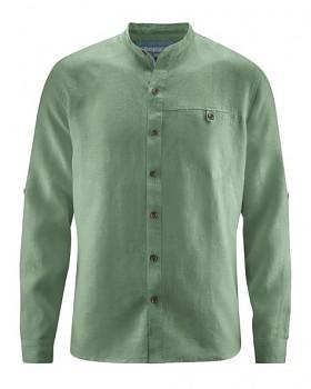 NOAH pánská košile ze 100% konopí - zelená herb