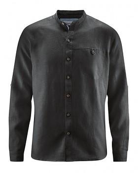 NOAH pánská košile ze 100% konopí - černá
