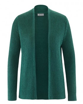KARDI dámský svetr z recyklovaného konopí a biobavlny - zelená spruce