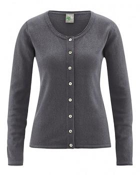 LOLA dámský pletený svetr z konopí a biobavlny - tmavě šedá antracit